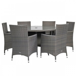 Royalcraft Marlow 6 Seater Round Dining Set & Weather-Shield Cushions