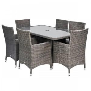 Royalcraft Marlow 6 Seater Rectangular Dining Set & Weather-Shield Cushions