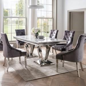 Vida Living Arturo Grey Marble and Chrome 180cm Dining Table