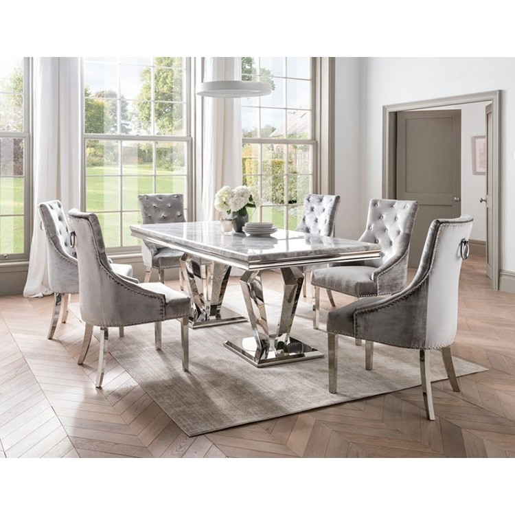 Vida Living Arturo Grey Marble And Chrome 200cm Rectangular Dining Table Fusion Furniture Store