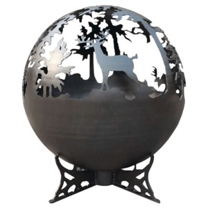 Lifestyle Appliances Deer Fire Globe Black Painted Steel