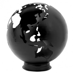 Lifestyle Appliances Earth Fire Globe Black Painted Steel