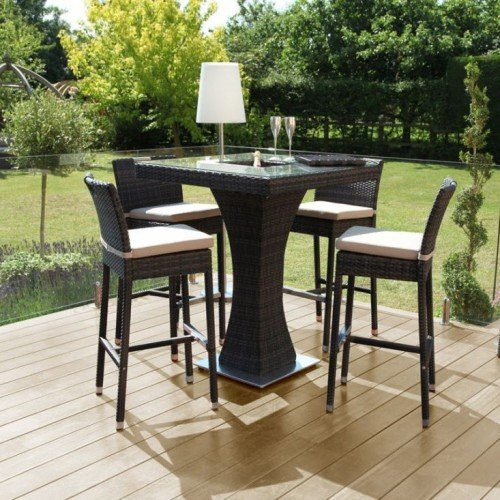 Maze Rattan Garden Furniture 4 Seat Square Bar Set with Ice Bucket Brown