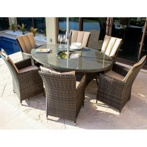 Maze Rattan Garden Furniture LA Brown 6 Seater Oval Ice Bucket Table Set