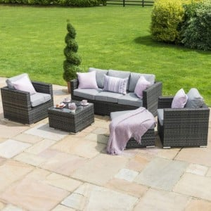 Maze Rattan Garden Furniture Georgia Grey 3 Seat Sofa Set With Ice Bucket