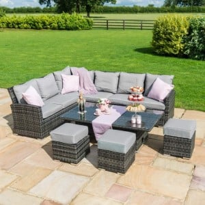 Maze Rattan Garden Furniture Kingston Grey Corner Dining Set With Rising Table - PRE ORDER