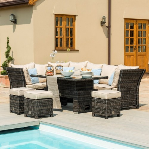 Maze Rattan Henley Brown Corner Sofa with Reclining Arms & Rising Table