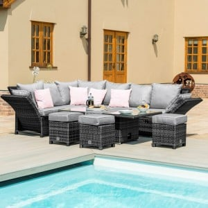 Maze Rattan Garden Furniture Henley Grey Corner Sofa with Reclining Arms and Table - PRE ORDER