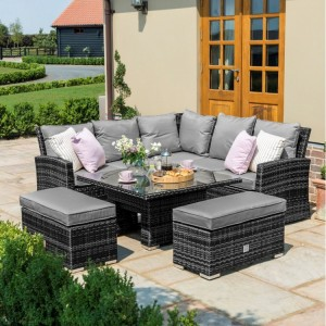 Maze Rattan Garden Furniture Richmond Grey Corner Bench Set with Rising Table