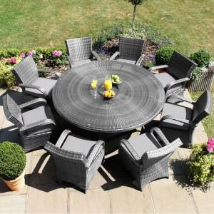Maze Rattan Texas Garden Grey 8 Seater Round Table Set