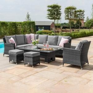 Maze Rattan Garden Furniture Venice Grey Corner Set With Rising Ice Bucket Table & Armchair