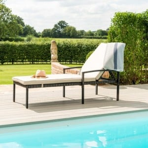 Maze Rattan Garden Furniture Brown Austin Sunlounger