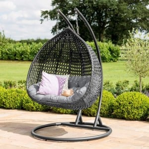 Maze Rattan Garden Furniture Rose Grey Outdoor Hanging Chair