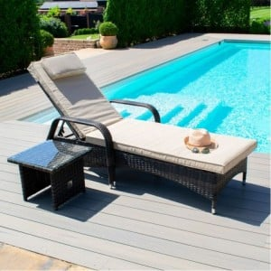 Maze Rattan Garden Furniture Florida Brown Sunlounger