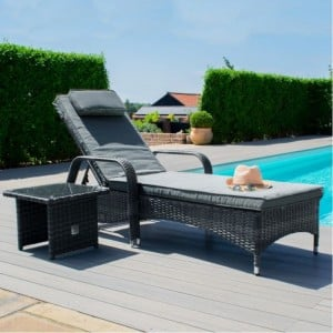 Maze Rattan Garden Furniture Florida Grey Sunlounger
