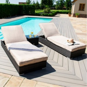 Maze Rattan Garden Furniture Orlando Brown Sunlounger Set