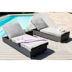 Maze Rattan Garden Furniture Orlando Grey Sunlounger Set