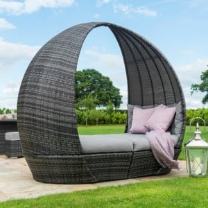 Maze Rattan Garden Furniture Grey Tulip Daybed