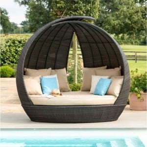 Maze Rattan Garden Furniture Lotus Furniture Brown Daybed - PRE ORDER
