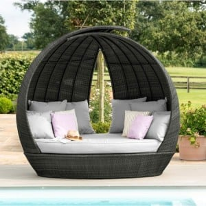 Maze Rattan Garden Furniture Lotus Grey Daybed - PRE ORDER