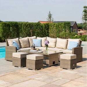 Maze Rattan Garden Furniture Tuscany Corner Sofa Set With Rising Table