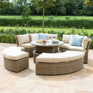 Maze Rattan Garden Furniture Tuscany Chelsea Lifestyle Sofa Set & Glass Table Top - PRE ORDER