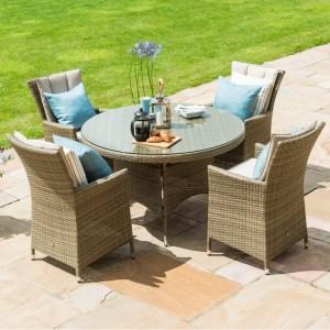 Maze Rattan Garden Furniture Tuscany Garden 4 Seat Round Dining Set