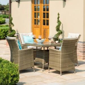 Maze Rattan Garden Furniture Tuscany Garden LA 4 Seat Square Dining Set