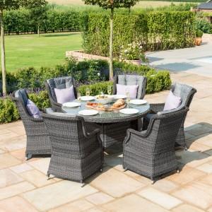 Maze Rattan Victoria 6 Seat Round Garden Dining Set With Round Chairs