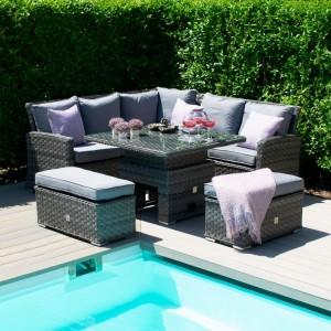 Maze Rattan Garden Furniture Victoria Garden Corner Bench Set with Rising Table - PRE ORDER
