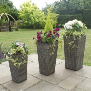 Maze Rattan Garden Furniture Victoria Wide Set of 3 Weave Planters