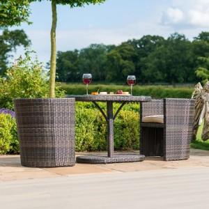 Maze Rattan Garden Furniture Balcony Brown Compact Bistro Set