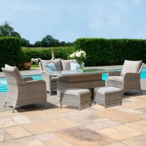 Maze Rattan Garden Furniture Cotswolds 2 Seat Sofa Dining with Rising Table