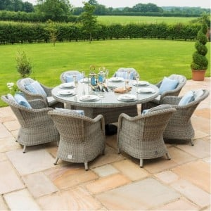 Maze Rattan Garden Furniture Oxford 8 Seater Round Ice Bucket Table & 8 Heritage Chairs - PRE ORDER