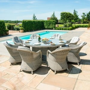 Maze Rattan Garden Furniture Oxford 8 Seat Round Fire Pit Dining Set With Heritage Chairs