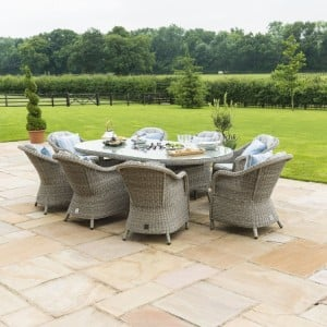 Maze Rattan Garden Furniture Oxford 8 Seat Oval Ice Bucket Table With Heritage Chairs