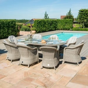 Maze Rattan Garden Furniture Oxford 8 Seat Oval Fire Pit Dining Set With Heritage Chairs