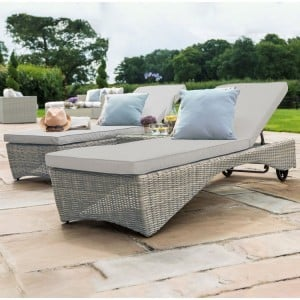Maze Rattan Garden Furniture Oxford 3 Piece Sunlounger Set