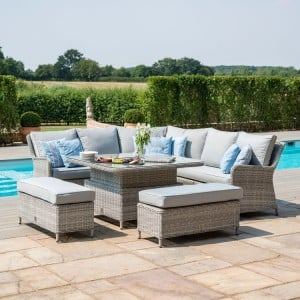Maze Rattan Garden Furniture Oxford Royal Corner Bench Set with Rising Table - PRE ORDER