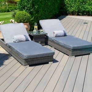 Maze Rattan Garden Furniture Victoria 3 Piece Garden Furniture Sunlounger Set