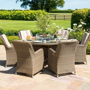 Maze Rattan Garden Furniture Winchester 6 Seat Round Fire Pit Table With Venice Chairs