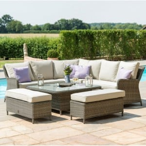 Maze Rattan Garden Furniture Winchester Royal Corner Bench Set with Rising Table