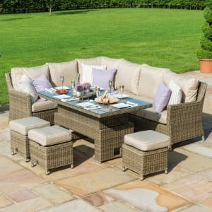 Maze Rattan Garden Furniture Winchester Kingston Ice Bucket Corner Rising Dining Table Set