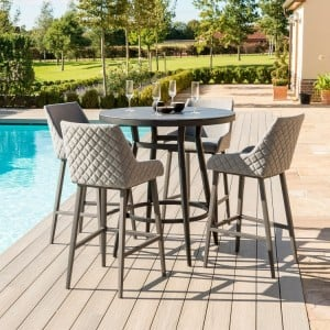 Maze Lounge Outdoor Fabric Regal 4 Seat Round Bar Set in Flanelle - PRE ORDER