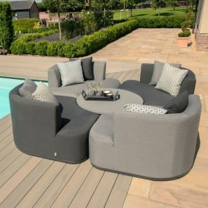 Maze Lounge Outdoor Fabric Snug Lifestle Suite with Rising Table in Flanelle - PRE ORDER