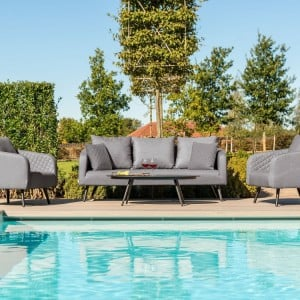 Maze Lounge Outdoor Fabric Ambition 3 Seat Sofa Set in Flanelle