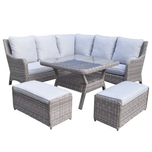 Signature Weave Alexandra Corner Dining Set With Sofa and Benches