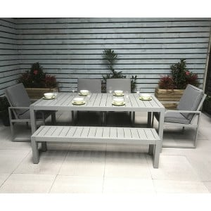 Signature Weave Alarna Hand Painted Table Chairs and Bench Set