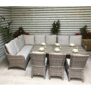 Signature Weave Alexandra Large Corner Dining Set With Sofa and 3 Chairs