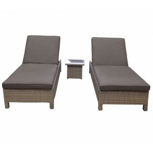 Signature Weave Sarena Nature Sunbeds and Side Table Set